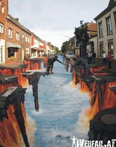 3D Streetart. No-one will believe this, but this IS street art, in 3D. Epic right?