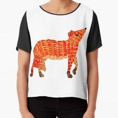Adorable Fox Chiffon Top Watercolor Fox, Wearable Art, Chiffon Tops, Hoodies, Illustration, Prints, T Shirt, Dresses, Design