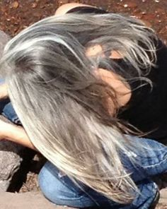 ":)   I could just kick myself for covering my silver hair all these years, cause it could look like this now..... Oh well I just gotta let it grow in now...can you say ""skunk stripe"""