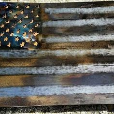 American flag made from an old saw blade out of a local mill.