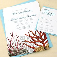 Coral Reef #wedding invitations by Concertina Press - red coral, aqua envelopes