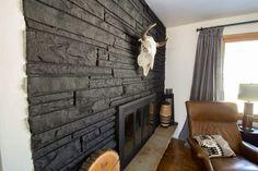 Hottest Free of Charge black Stone Fireplace Style Stacked stone fireplaces are undeniably gorgeous and can turn what would otherwise be a plain, borin Painted Stone Fireplace, Stone Fireplace Makeover, Simple Fireplace, Paint Fireplace, Black Fireplace, Fireplace Hearth, Modern Fireplace, Fireplace Ideas, Painted Rock Fireplaces