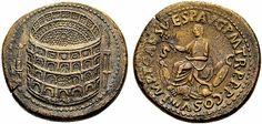 Sestercio de Tito, onde se pode apreciar a Meta Sudans á esquerda e quizais o porche da Domus Aurea ou un templo á dereita. Na outra cara, o emperador Tito, fillo de Vespasiano, quen ordeou construír o Coliseo, tamén chamado Anfiteatro Flavio.