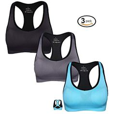 f7de8fe6bd2fe 3Pack Racerback Sport Bras for Women