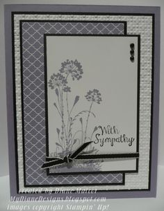 Serene Sympathy by Diane Malcor (USA-OR); Stamp Sets - Bloom with Hope, Serene Silhouettes Paper - Wisteria Wonder, Whisper White, Basic Black, Wisteria Wonder DSP Ink - Wisteria Wonder, Basic Black Accessories - Big Shot, Square Lattice TIEF, Basic Black Taffeta Ribbon, Basic Pearls, Sharpie (Non-SU)
