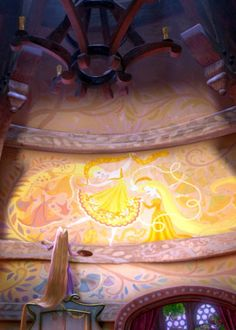Tangled... When I'm older and have a daughter, I'd love to paint her room like this.