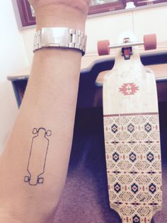 Skateboard, longboard tattoo, small tattoo