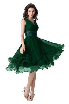 Vienna Bride Vintage V-Neck Short Cocktail Bridesmaid Dress Prom Party Dress-16W-Dark Green