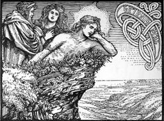 folkthings: Left to right: Njörðr, Skaði, Freyr. From the book The Elder or Poetic Edda; commonly known as Sæmund's Edda. Edited and translated with introduction and notes by Olive Bray. Illustrated by W.G. CollingwoodNjörðr - inNorse mythology,Njörðris a god among theVanir. Njörðr is father of the deitiesFreyrandFreyjaby his unnamed Van sister, was in an ill-fated marriage with the goddessSkaði, lives inNóatún...