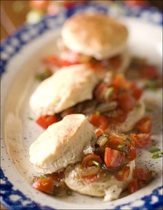 Tomato Shortcakes with Vidalia Onion Jam and Boursin. A fluffy biscuit, some garlic-herb cheese, juicy tomatoes and jammy onions are a dynamic combination.