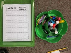 Great Word Work idea.  I think the kids would like to use w/sparkly crayons or w/markers.