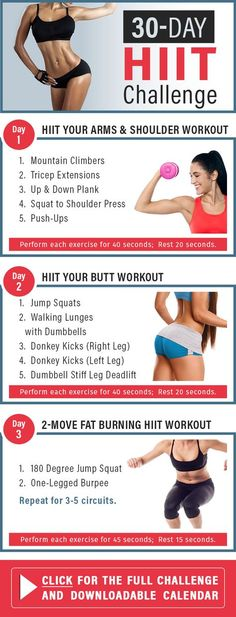 Take your workout to a whole new level, do this 30-day HIIT challenge. The workouts target your whole body, so you know you'll be working toward a head-to-toe transformation.