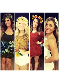 Four seasons Halloween costume. Four girls. Spring. Summer. Fall. Winter.
