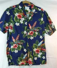 Pride of Hawaii Men's Hawaiian Print Shirt Woody Surf Boards Size Small | eBay