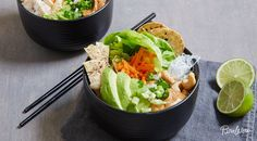 Spring roll bowls are fully loaded with all the tasty ingredients that come in a spring roll minus the tricky wrappers. Try this easy to assemble recipe.