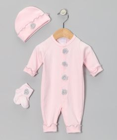 Take+a+look+at+the+Too+Sweet+Pink+&+Gray+Flower+Playsuit+Set+-+Infant+on+#zulily+today!