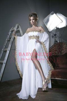 Aliexpress.com : Buy hot&sexy high slits Kaftan lace applique long sleeves evening dress sale  vestido de festa longo white chiffon prom dre...