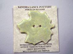 Honeydew Green Maple Leaf Button  Large Porcelain by SandrasShop, $6.00