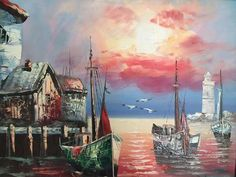"""This original work of art is """"Fishermen's Village""""  You can own this original hand-crafted oil painting depicting a peaceful sunset at the shore in the small fishing village of Bolinas, California.  Created by MuseArtist Ashley Long, this is fine nautical art to enhance your home and bring a taste of ocean-side life to your environment!  Oil on canvas  Visit:  http://www.museartconnections.com/original-painting-entitled-fishermans-village-by-ashley-long"""