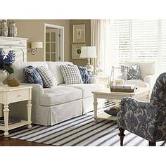 classic cottage style, painted furniture and slipcovered furniture  with the striped rug