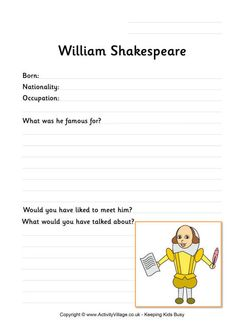william shakespeare colouring page activity printables pinterest activities william. Black Bedroom Furniture Sets. Home Design Ideas