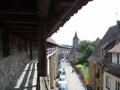 on the medieval walkway around Rothenberg ob dem Tauber, Germany