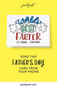 Punkpost makes it easy to send dad a handwritten Father's Day card. Just pick a card (like this one), type your message and tell us where to send it. We'll take card of the rest! We handwrite your message, address the envelope, add a stamp and drop it in the mail. Order right now from your phone or computer.    #fathersday #dad #happyfathersday #fathersdaygift #giftfordad #firstfathersday #fathersrdaycard #fathersdayidea #handwrittencard #snailmail #iosapp First Fathers Day, Fathers Day Cards, Your Message, Gifts For Dad, Envelope, Dads, Rest, Stamp, Messages