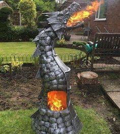 Actually popular in our group on Facebook! #steampunktendencies #steampunk #art #fantasy #dragon #fireplace #firepit #metalwork #Metal
