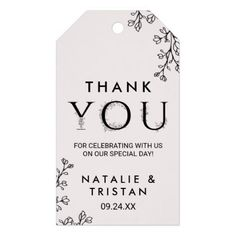 Floral Typography Thank You Favor Gift Tags - elegant wedding gifts diy accessories ideas