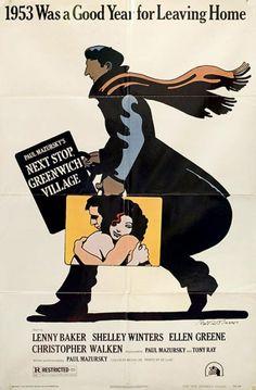 Milton Glaser, film poster Next Stop Greenwich Village, with Lenny Baker… Posters Vintage, Vintage Movies, Greenwich Village, Cinema Posters, Film Posters, Ellen Greene, Ode An Die Freude, Bob Dylan Poster, Shelley Winters