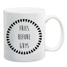 FRIES BEFORE GUYS #mug #tea #coffee #misery #grunge #deathbeforedecaf #blackheart #illustration #shopsmall #giveaway #alternative #competition #mugs #design #win #coffeemug #christmas #stockingfiller