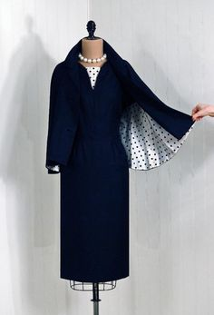 1950's Vintage PolkaDot Navy and White by TimelessVixenVintage  ohhhhh i loove love love it <3