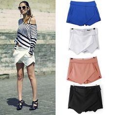 Cheap 2014 nuevos 4 colores para mujer faldas femeninas con gradas Pantalones cortos irregulares Zipper Pantalones Culottes falda corta XS   XL del tamaño extra grande, Compro Calidad Faldas directamente de los surtidores de China: