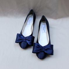 Marine Wedding Flat  Bow Flats by TheCrystalSlipper on Etsy, $130.00 Navy Wedding Shoes, Wedding Flats, Cute Flats, Bow Flats, Marine Colors, All About Shoes, Nautical Wedding, Blue Shoes, Fashion Shoes