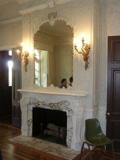Gorgeous White Victorian Fireplace and Mirror