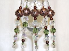 Bead Christmas Ornaments  Copper and Green by CJKingOriginals, $17.50