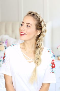 How to style a dutch braid with my Summer Makeup Routine. Perfect and easy to keep you cool this summer! by Twist Me Pretty Quiff Hairstyles, Spring Hairstyles, Boho Hairstyles, Elegant Hairstyles, Everyday Hairstyles, African Hairstyles, Headband Hairstyles, Pretty Hairstyles, Hairstyles Videos
