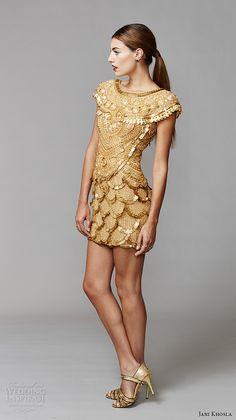 jani khosla 2015 bridal evening dress bateau neckline cap sleeves gold short skirt kama sutra indian jewelry motif