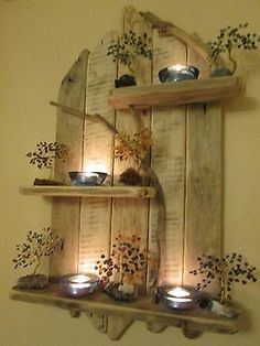 Amazing Natural Driftwood Tall Shelves Solid Rustic Shabby Chic Unique Artwork