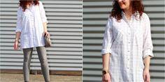 Maxi camisa de cuadros y pitillos grises, ¡una idea genial!