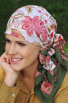 Cancer Scarves: Cotton Square Woodblock Head Scarves - Chemo Patients