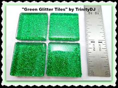 Green Glitter Tiles Cabochons Glass glitter by TrinityDJBoutique Glitter Tiles, Green Glitter, Future House, Unique Jewelry, Handmade Gifts, Glass, Crafts, Etsy, Products