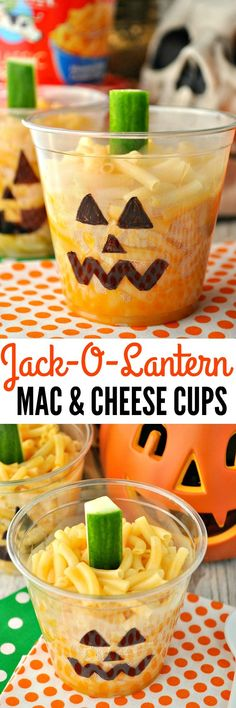 A perfect Halloween party food and a great way to fill up little tummies with an easy Halloween dinner before Trick-or-Treating: Jack-O-Lantern Mac and Cheese Cups!