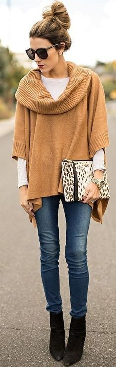 #fall #southern #american #style | Camel Layers + White + Denim