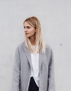 A.P.C. tote bag, Acne Studios jeans, Céline slip-ons, Zadig & Voltaire coat. Via Mija