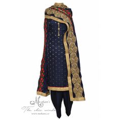 Pretty navy blue unstitched suit featuring in benarasi buti and floral buti on dupatta-Mohan's the chic window Best Indian salware suits Click above VISIT link for more info Punjabi Fashion, Indian Fashion, Designer Punjabi Suits, Salwar Kameez Online, Indian Ethnic Wear, The Chic, Salwar Suits, Navy Blue, Clothes For Women