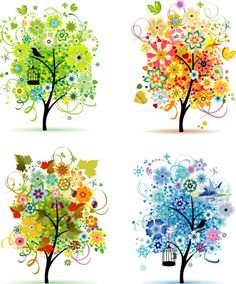 Use color scheme A new way to determine your season! using mustard, powder pink, apple green and royal blue. Flower Tree Image, Four Seasons Art, Tree Branch Tattoo, Spring Tree, Spring Summer, Seasonal Color Analysis, Soft Autumn, Tree Patterns, Sister Tattoos