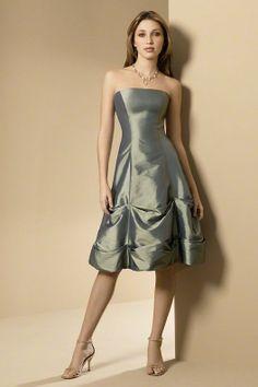 A-line Strapless Knee Length Taffeta Junior Bridesmaid Dress