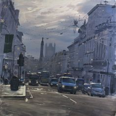 Tom Hughes paintings of London that look like blurred photographs   #art #buckingham #camden #cityscape #drawing #embankment #hyperrealism #illustration #landscape #london #painting #piccadilly #regentstreet #tomhughes #uk #waterloo #westminster
