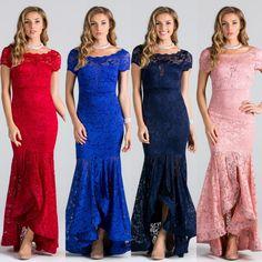 Affordable Lace Mermaid Long Bridesmaid Dress Navy, Blush and more